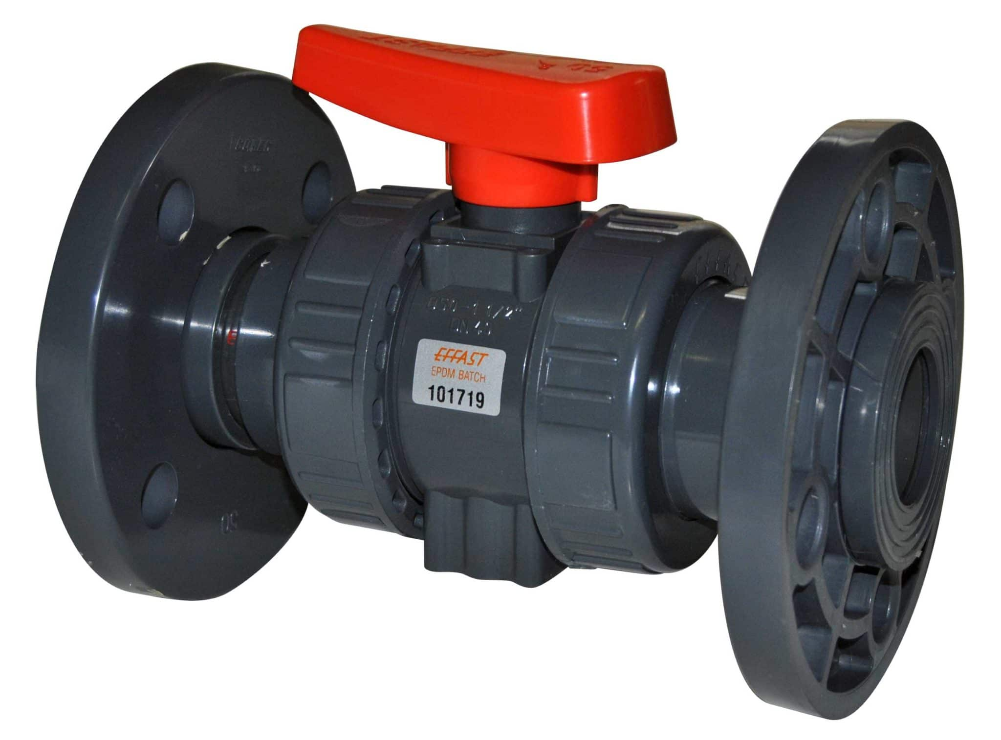 PVC-U Double union ball valve BK1 flanged - EFFAST - 100% Made in Italy