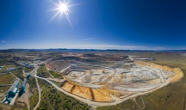 Copper mine in Mongolia, aerial view, Erdenet